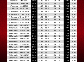 Jadwal Imsakiah Ramadan 1440 H untuk Wilayah DKI Jakarta