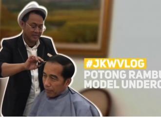 """""""Ngevlog"""" Potong Rambut, Presiden Ingin Kembali Muda"""