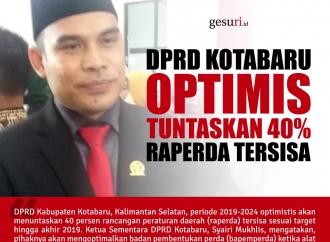 DPRD Kotabaru Optimistis Tuntaskan 40% Raperda Tersisa