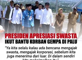 Presiden Apresiasi Swasta Ikut Membantu Korban Gempa di Palu