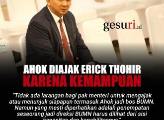 Ahok Diajak Erick Thohir karena Kemampuan