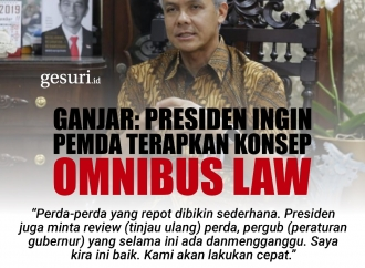 Ganjar: Presiden Jokowi Ingin Pemda Terapkan Omnibus Law