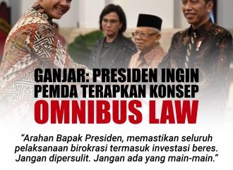 Ganjar: Presiden Jokowi Ingin Daerah Terapkan Omnibus Law