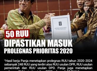 50 RUU Dipastikan Masuk Prolegnas Prioritas Tahun 2020