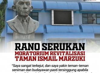 Rano Serukan Moratorium Revitalisasi Taman Ismail Marzuki