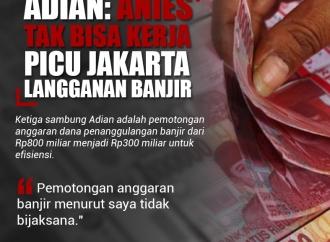 Adian: Anies Tidak Bisa Kerja, Picu Jakarta Langganan Banjir