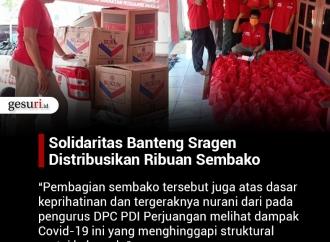 Solidaritas Banteng Sragen Distribusikan Ribuan Sembako