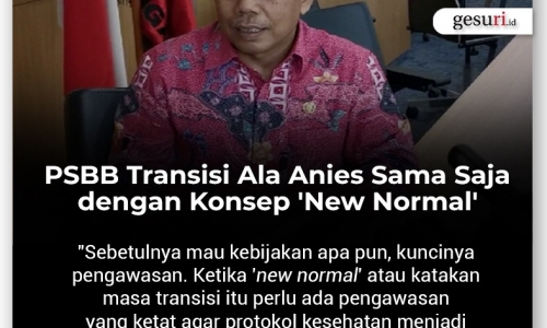 PSBB Transisi Ala Anies Sama Saja dengan Konsep New Normal
