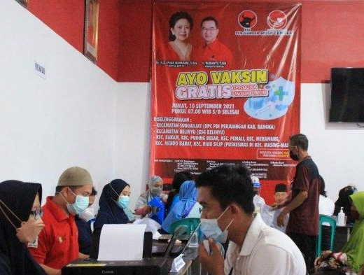 Rudi Center & Banteng Babel Kembali Gelar Vaksinasi Gratis