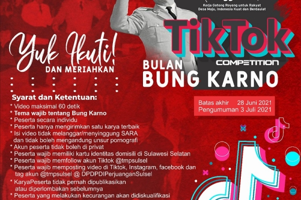 Bulan Bung Karno, TMP Sulsel Ajak Kreator Kompetisi TikTok