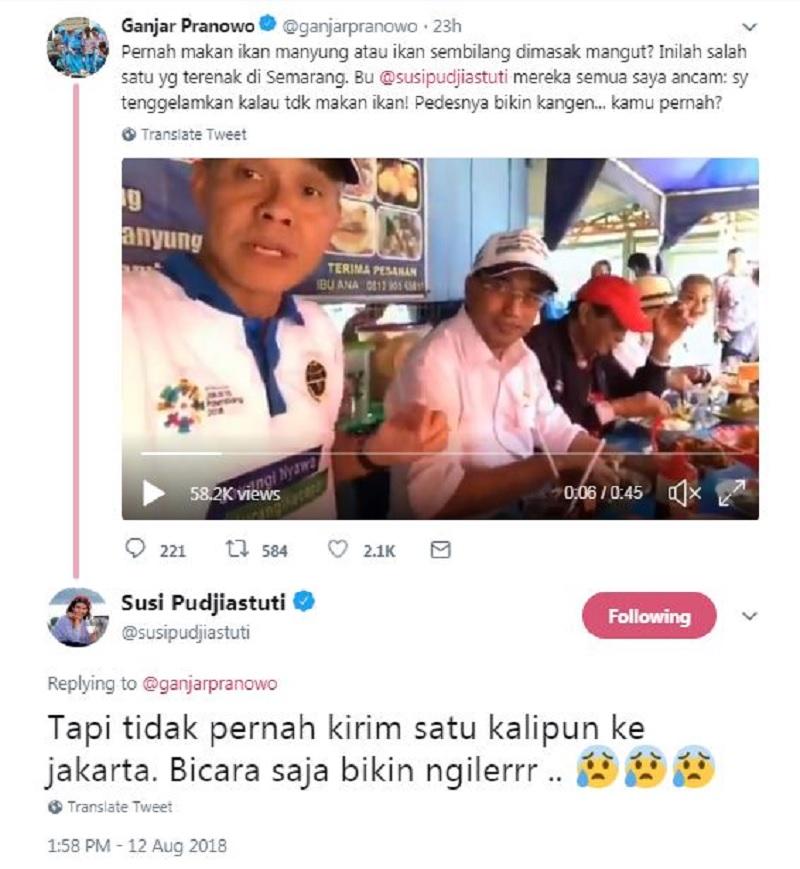 Persahabatan Ganjar-Susi, Terlihat dalam Cuitan di Twitter