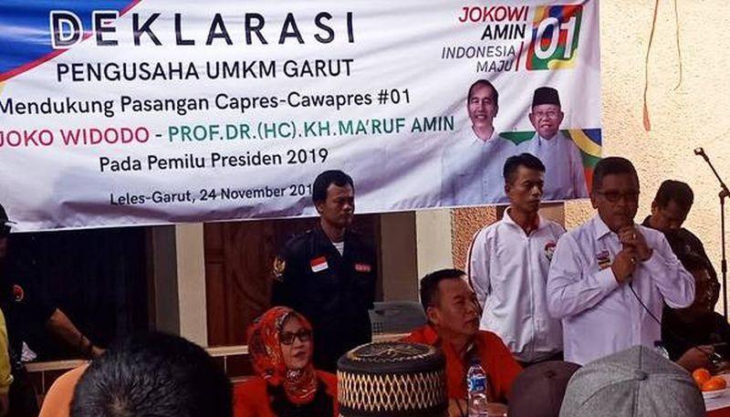 Pelaku UMKM Garut Deklarasi Dukung Jokowi-Ma'ruf