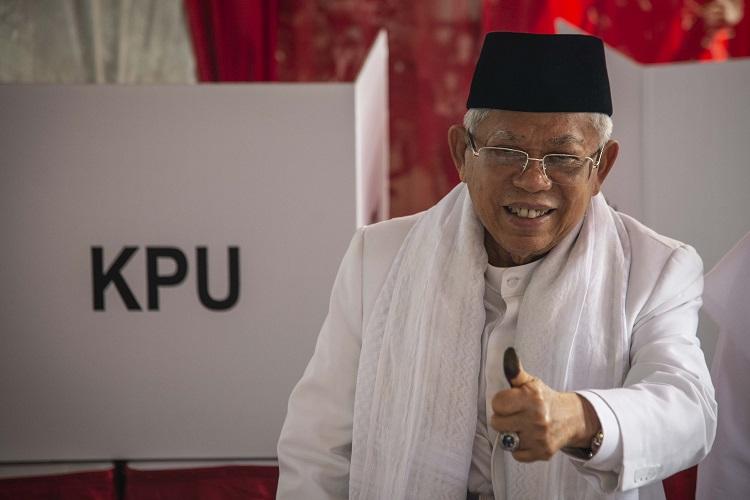 Jokowi-Ma'ruf Unggul Tipis di TPS Kiai Ma'ruf Amin