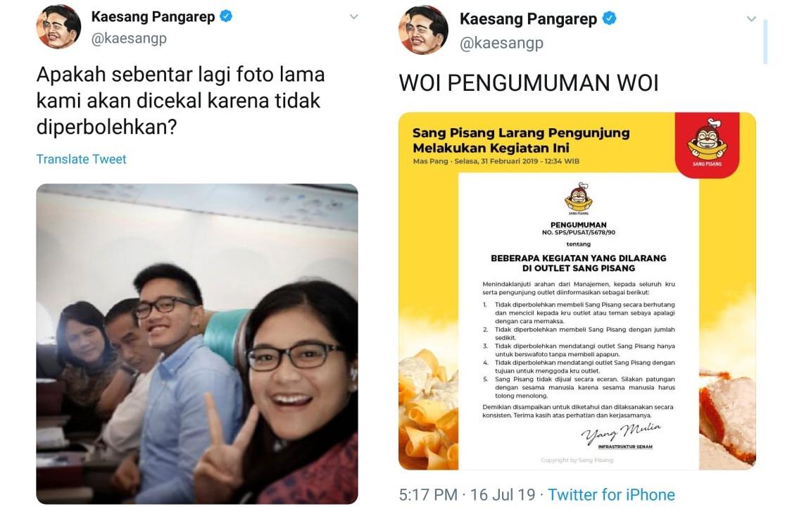 Lewat Kicauan di Twitter, Kaesang Sindir Garuda Indonesia
