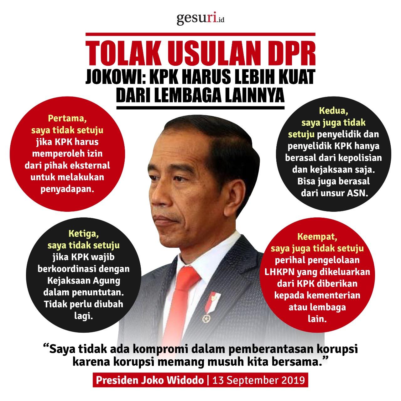 Jokowi: KPK Harus Lebih Kuat Dari Lembaga Lainnya