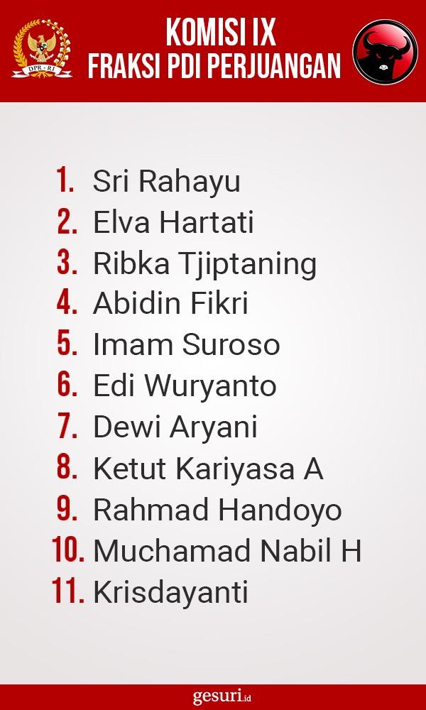 Daftar Nama Anggota Komisi IX DPR RI Fraksi PDI Perjuangan