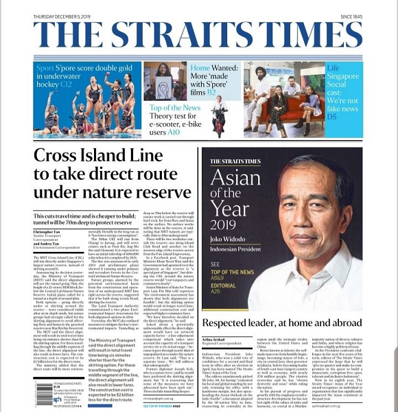 The Straits Times Nobatkan Jokowi 'Asian of the Year 2019'