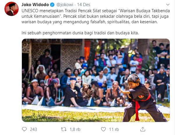 Jokowi Apresiasi Keputusan UNESCO Soal Pencak Silat