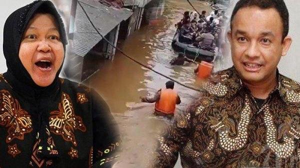 Beda Cara Wali Kota Risma dan Gubernur Anies Atasi Banjir