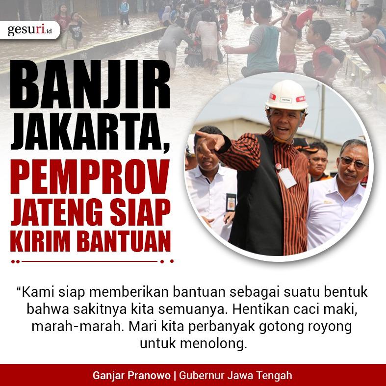 Banjir Jakarta, Pemprov Jawa Tengah Siap Kirim Bantuan