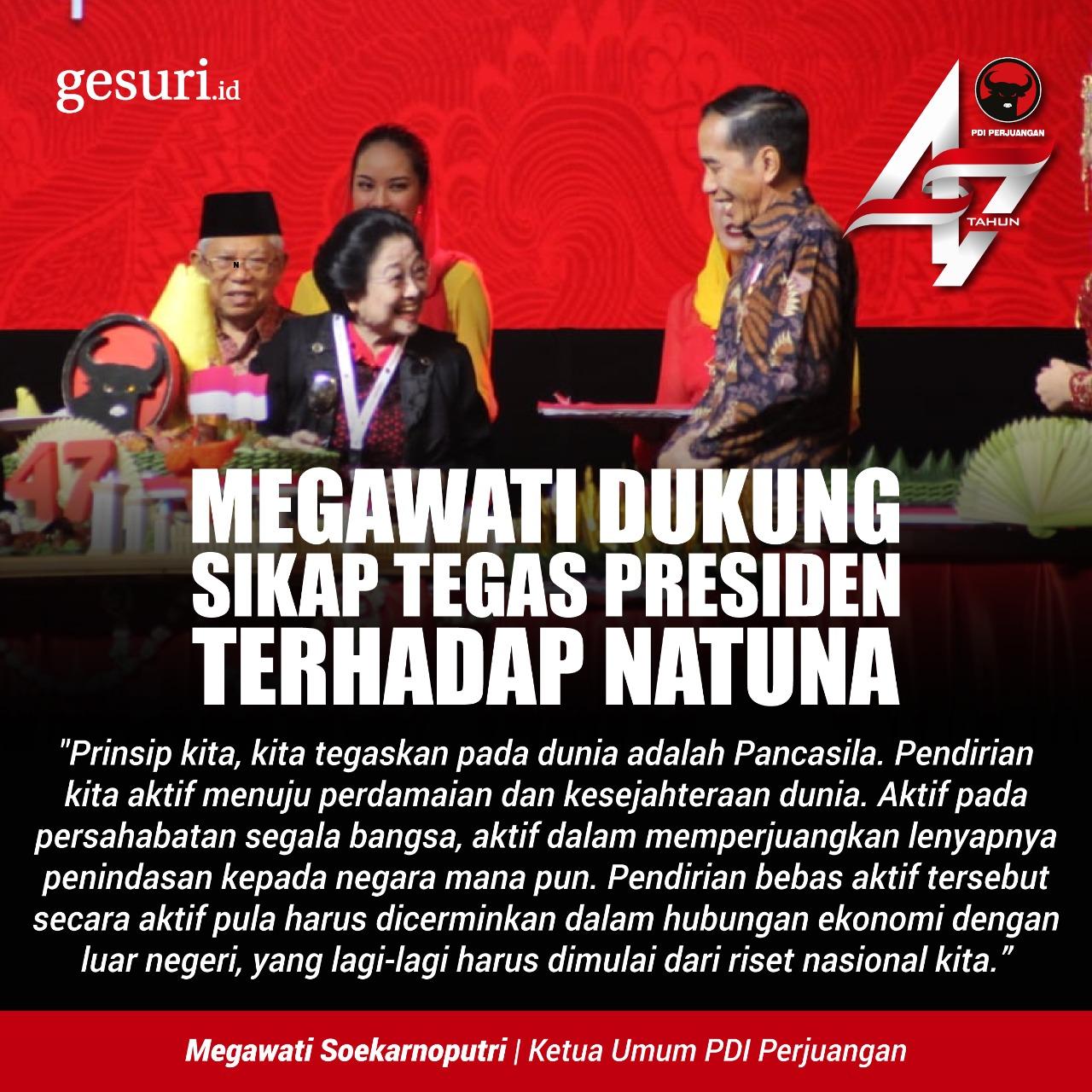 Megawati Dukung Sikap Tegas Presiden Terhadap Natuna