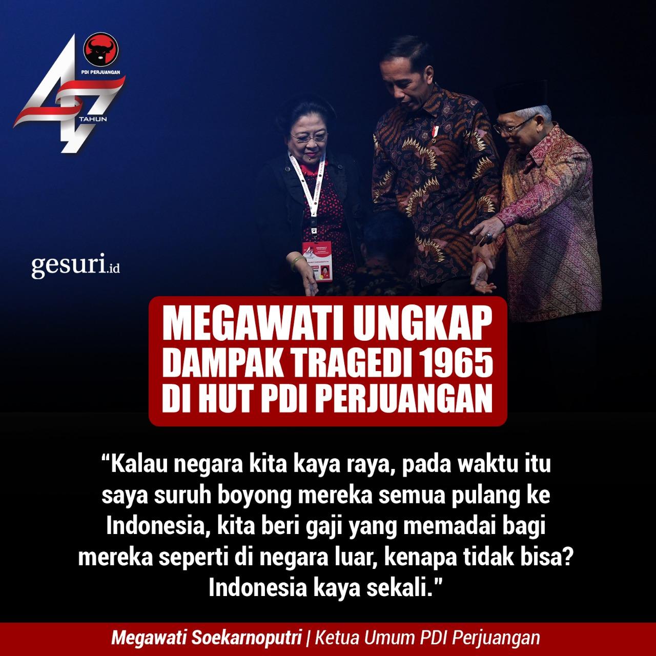Megawati Ungkap Dampak Tragedi 1965 di HUT PDI Perjuangan