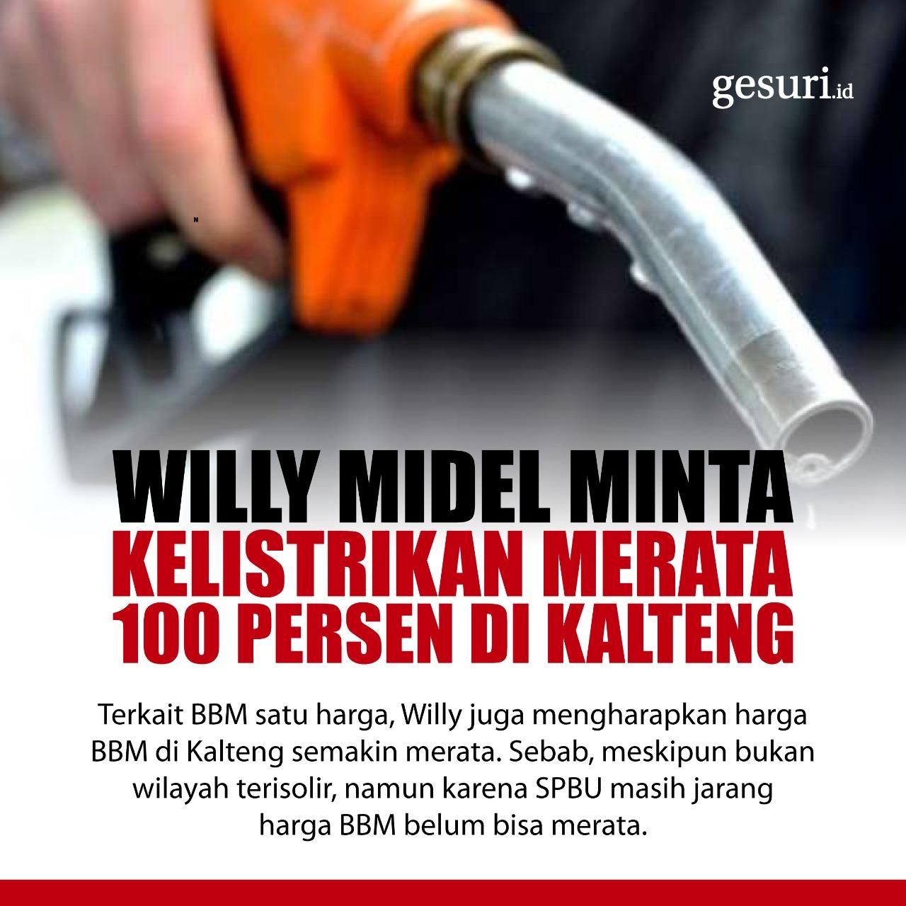 Willy Midel Minta Kelistrikan Merata 100 Persen di Kalteng