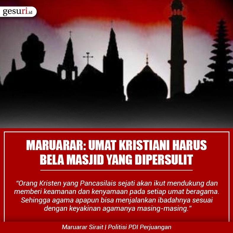 Maruarar: Umat Kristiani Harus Bela Masjid yang Dipersulit