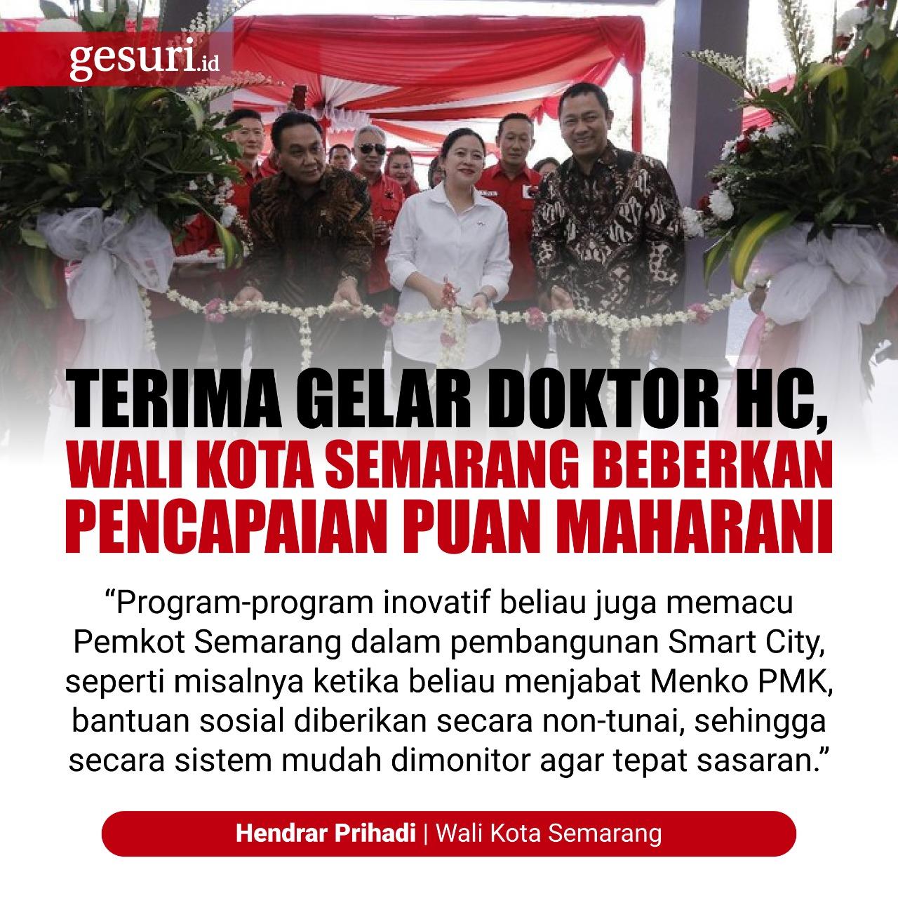 Pemkot Semarang Apresiasi Gelar Doktor HC Puan Maharani