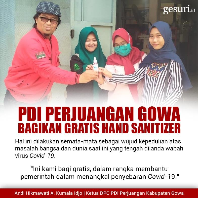 PDI Perjuangan Gowa Membagikan Gratis Hand Sanitizer