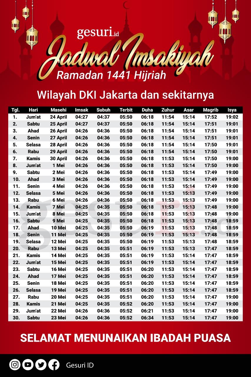 Jadwal Imsakiyah Ramadan 2020/1441H untuk DKI Jakarta