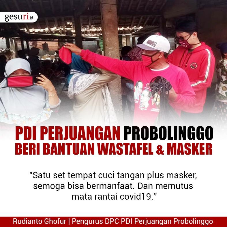 PDI Perjuangan Probolinggo Beri Bantuan Wastafel dan Masker