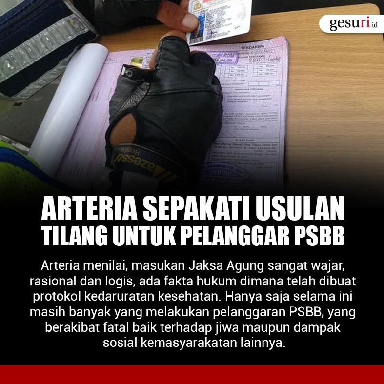 Arteria Sepakati Usulan Tilang untuk Pelanggar PSBB