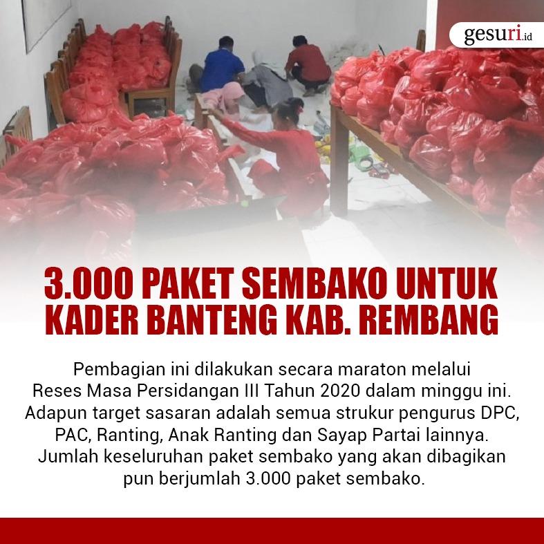 3000 Paket Sembako untuk Kader Banteng Kabupaten Rembang