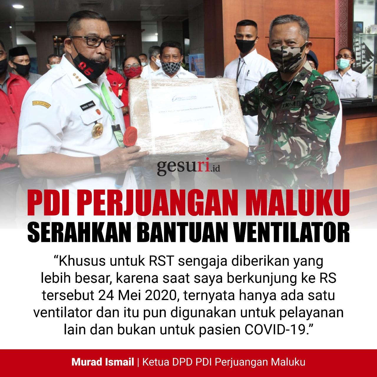 PDI Perjuangan Maluku Serahkan Bantuan Ventilator ke RS
