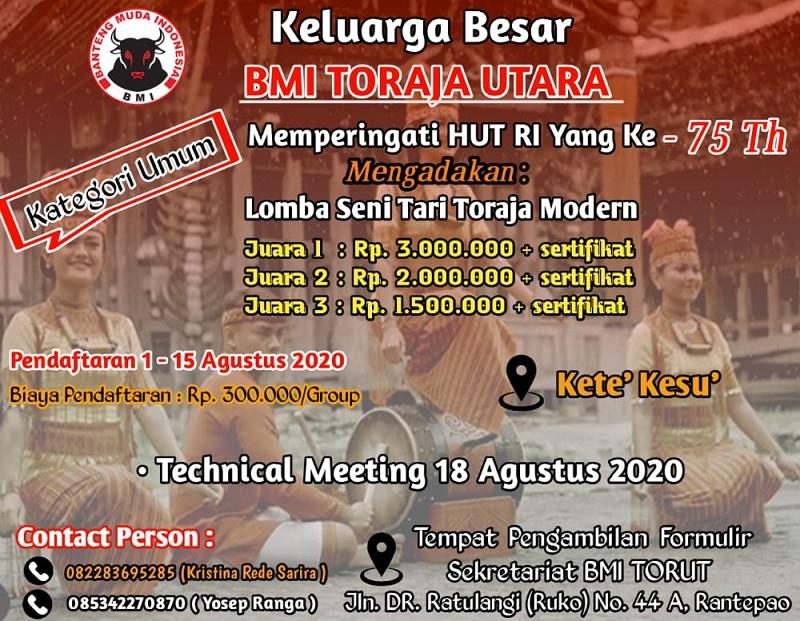 HUT RI, BMI Toraja Utara Gelar Lomba Sepak Takraw & Tarian