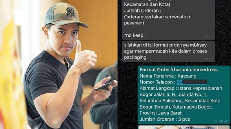 Kaesang Belanja Online Pake Alamat Istana Bogor, Akibatnya?