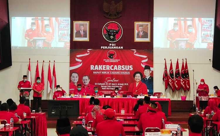 1.500 Kader Banteng Surabaya Ikuti Rakercabsus Secara Daring