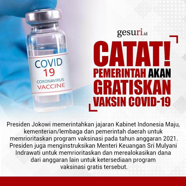 Catat! Pemerintah Tegaskan Akan Gratiskan Vaksin Covid-19