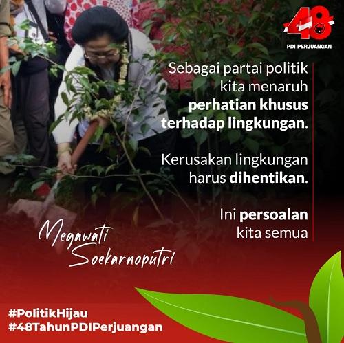 HUT 48, Petinggi PDI Perjuangan Tanam Pohon & Bersih Sungai