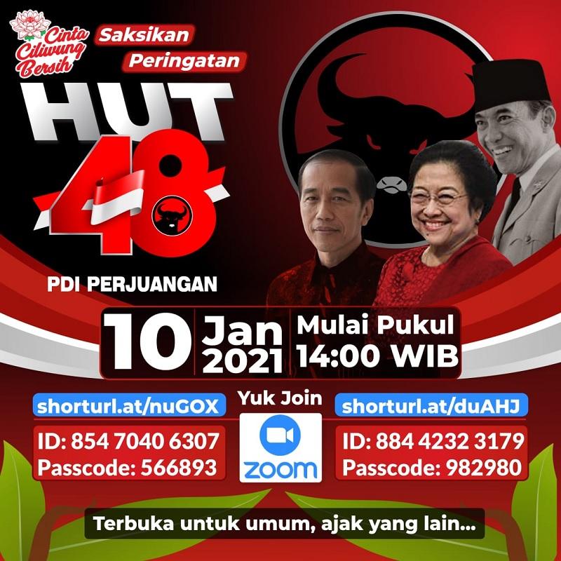 HUT 48 PDI Perjuangan, Megawati& Jokowi Pidato Via Daring