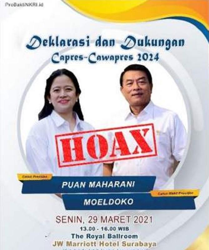 PDI Perjuangan Pastikan Poster Puan-Moeldoko Palsu!