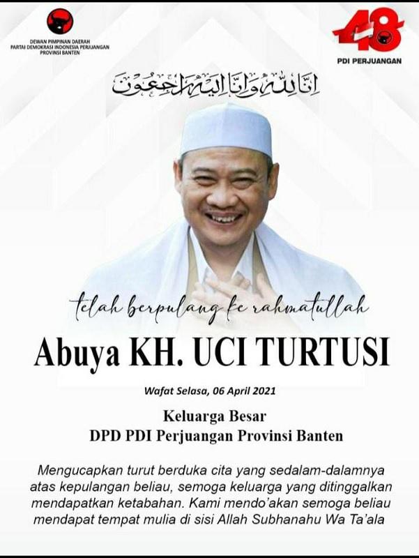 Ulama Besar Banten Berpulang, PDI Perjuangan Banten Berduka