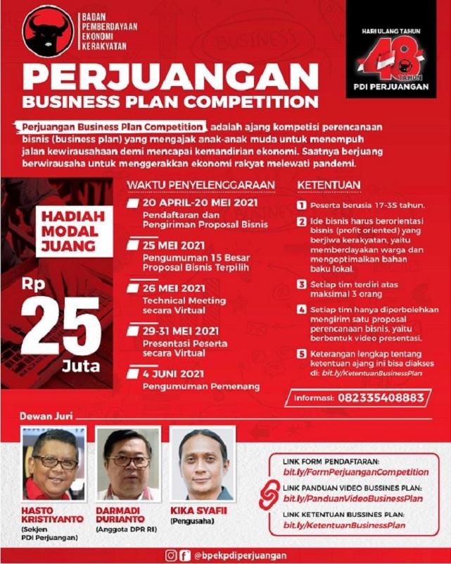 BPEK PDI Perjuangan Gelar Kompetisi Bisnis, Hadiah Rp25 Juta